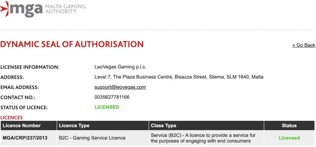 LeoVegas MGA License